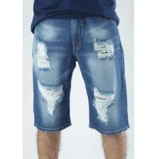 Ulasan Retro Hip Hop Jeans Celana Pendek Jeans Destroy