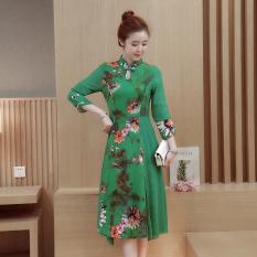 Retro Kain Linen Musim Semi Dan Musim Panas Baru Dicetak Gaun Cheongsam (Hijau) baju wanita dress wanita Gaun wanita