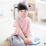 Spesifikasi Cheongsam Gelembung Rumah Kemeja Retro Katun Dalam Merah Muda Lengan Pendek Jacquard Other Terbaru