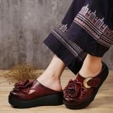 Harga Retro Kulit Asli Musim Panas Sepatu Wanita Baotou Sendal Arak Anggur Warna Sepatu Wanita Sandal Wanita Seken