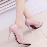 Obral Retro Kulit Paten 10Cm Musim Semi Mulut Dangkal Sepatu Sepatu Heels Merah Muda Warna Sepatu Wanita High Heels Sepatu Wanita Wedges Murah