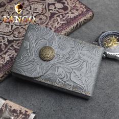 Retro Lapisan Pertama Kulit Multifungsi Dompet Uang Receh Kulit Dompet Kunci (Ukiran Abu-abu