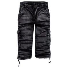 Retro Multi-pocket Pinggang Tengah Moire Celana Pendek Kargo untuk Pria (HITAM)-Intl