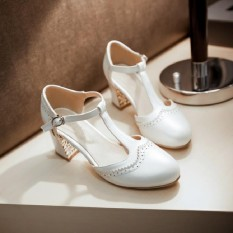Retro Musim Semi atau Musim Panas Baru Ukiran Sandal (Putih)