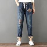 Jual Retro Patch New Style Elastic Waist Ankle Length Pants Harem Pants Biru Tua Murah Tiongkok