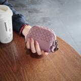 Spesifikasi Retro Perempuan Anyaman Mini Kecil Wallet Lucu Nol Wallet Pucat Merah Muda Ungu Tas Tas Wanita Dompet Wanita Other
