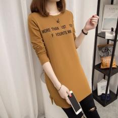 Yonghengxuanyan Kaos Wanita Trendi Panjang Sedang Motif Tulisan Lengan Panjang (122 * More khaki)
