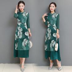 Diskon Retro Sutra Murni Dicetak Musim Semi Dan Musim Panas Baru Peningkatan Cheongsam Gaun Aoba Magnolia Branded