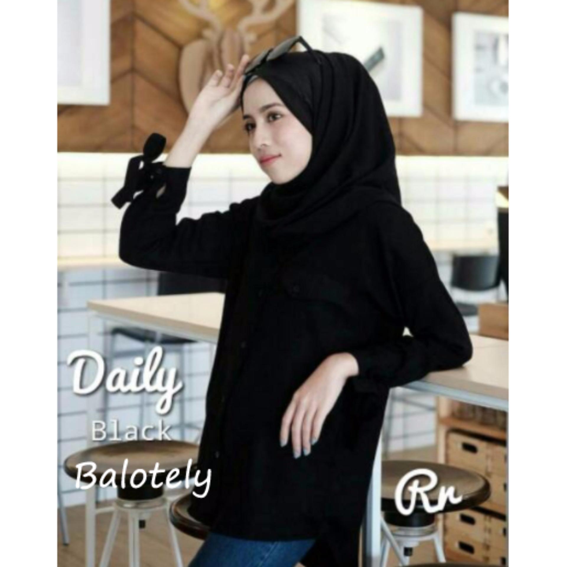 Bahan Twiscone Reyn Shop - Blouse Zaina Hitam Baju Wanita Pakaian Wanita Atasan Muslim