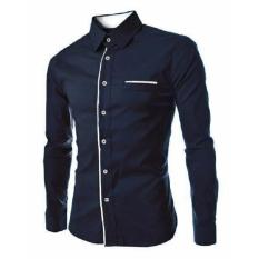 Spesifikasi Reyn Shop Kemeja Peter Navy Atasan Pria Kemeja Pria Baju Pria Murah Berkualitas