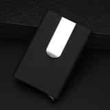 Jual Beli Rfid Blocking Kartu Kredit Pemegang Aluminium Kulit Pop Up Kartu Case With Uang Klip Hitam Baru Tiongkok