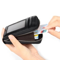 RFID Blocking Genuine Leather Kartu Kredit Case Pemegang Keamanan Perjalanan Dompet Saku Depan Dompet For Pria And Wanita (HITAM)