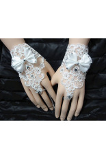 Berlian Imitasi Renda Pengantin Pernikahan Bunga Ikatan Simpul Jari Sarung Serbi Bang Pendek Putih