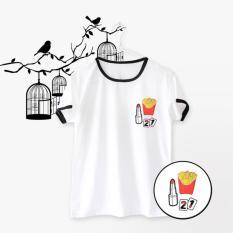Ringer Tee / T-Shirt / Kaos FRENCH FRIES Warna Putih