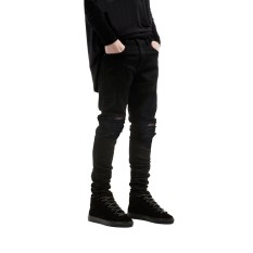 Ripped Jeans untuk Pria Kurus Tertekan Tipis Perancang Merek Terkenal Biker Hip Hop Barang Curian Tyga White Black Jeans Kanye West -Intl