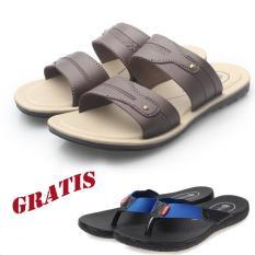 RK shoes sandal pria / sandal pria kulit / sandal pria casual / sandal pria dewasa / sandal murah / sandal promo R2-hitam, coklat, krem GRATIS sandal SR01 biru