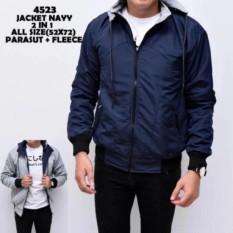 RL Jaket Parasut Hoodie Ziper Bolak Balik Fashion Pria Termurah Navy Blue - Grey