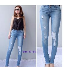 Toko Rnf Celana Jeans Ripped Tambal Dalam Biru Celana Jeans Cewek Di Dki Jakarta