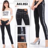 Beli Rnf Celana Jeans Street Wanita Hitam Lis Putih Online Terpercaya