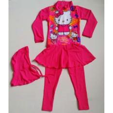 RNKD16 - Baju Renang Anak Muslim Hello Kitty Pink - UKURAN XXL