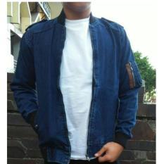 Spesifikasi Rnw Jaket Denim Bomber Pria Jeans Sleting Navy Blue