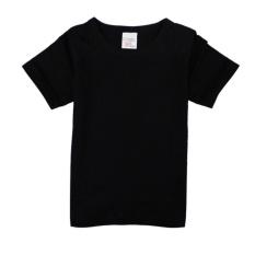 Roadwayer 100{55e037da9a70d2f692182bf73e9ad7c46940d20c7297ef2687c837f7bdb7b002} Cotton Kanak-kanak Lelaki Bang Pendek T-shirt Lengan (Hitam)