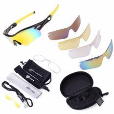 ROCKBROS Terpolarisasi Bersepeda Kacamata Hitam Olahraga dengan 5 Pasang Lensa (kuning)-Intl