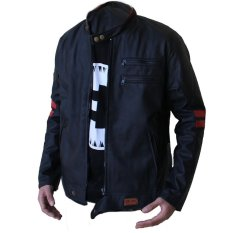 RoG Leather Jacket elbow red two strip [Black]