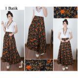 Jual Rok Lilit Maxi Payung Batik Wanita Long Skirt Yuna Merah Di Banten