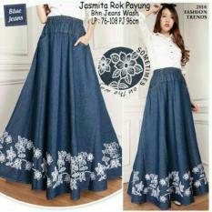 Review Toko Rok Maxi Payung Jeans Wanita Jumbo Long Skirt Jasita Online