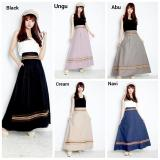 Spesifikasi Rok Maxi Payung Panjang Wanita Jumbo Long Skirt Evie Black Terbaru