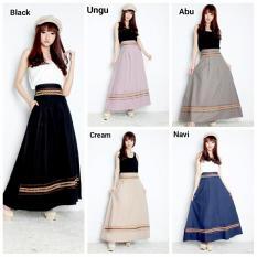 Beli Rok Maxi Payung Panjang Wanita Jumbo Long Skirt Evie Black Lengkap