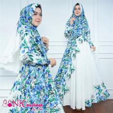 Roman Set Gamis Umroh Dress Khimar Syari Flower Busui LD106