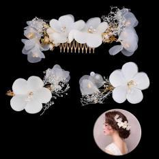 Romantis Bride Bulang Bunga Sisir Rambut Putih Hay Pernikahan Gaun Pengantin Wanita Perhiasan Aksesoris Pernikahan-Intl