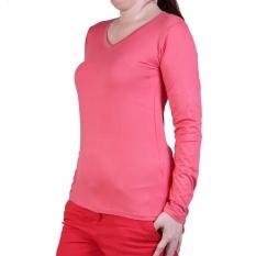 Promo Ronaco Baju Kaos Polos Panjan V Neck 292 Pink Tua Di Dki Jakarta