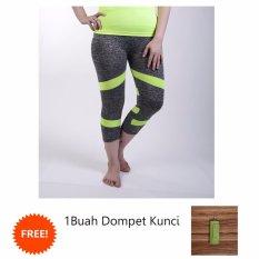 Beli Ronaco Celana Senam Zumba Pants Celana Aerobik Celana Yoga Import Hitam Strip Hijau 01
