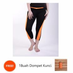 Ulasan Ronaco Celana Senam Zumba Pants Celana Aerobik Celana Yoga Import Hitam Strip Orange Csi008