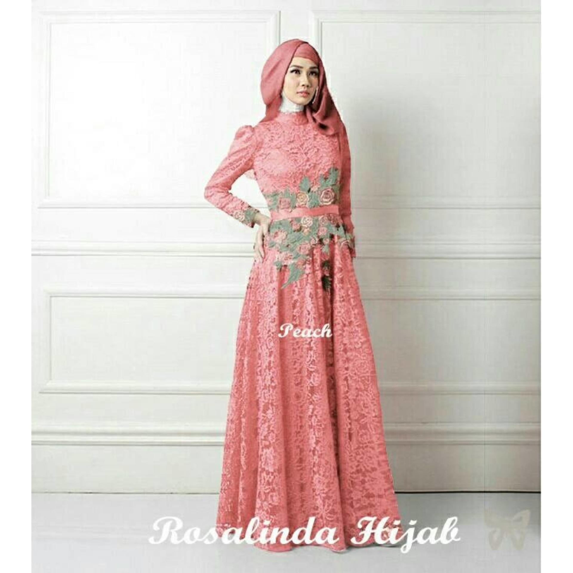 Happy Smart Shopping Rosalinda Peach Busana Muslim Pesta Wanita Terbaru  Gamis Terbaru dceaa5d435