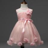 Jual Round Kerah Lace Tanpa Lengan Floral Princess Partai Tutu Dress Pink Termurah