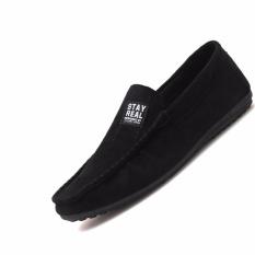 RUBI Sepatu Pria Fashion Nyaman Lengan Malas Mengemudi Shoes Wild Tide Pria Peas Sepatu Sepatu Flat Kasual Portable Sepatu Pria (hitam) 39-44-Intl