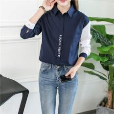 Spesifikasi Rumah Korea Baru Mahasiswa Kerah Kemeja Kemeja Lengan Panjang Biru Tua Baju Wanita Baju Atasan Kemeja Wanita Yang Bagus Dan Murah