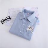 Rumah Korea Bordir Musim Gugur Lengan Panjang Jaket Korduroi Biru Promo Beli 1 Gratis 1