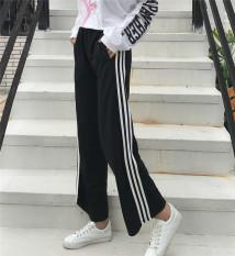 Pusat Jual Beli Celana Santai Wanita Bergaris Terlihat Langsing Versi Korea Hitam Tiongkok