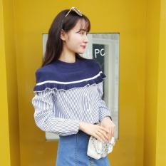 Daftar Harga Longgar Korea Perempuan Musim Gugur Baru Kemeja Lengan Panjang Kemeja Biru Tua Warna Mantra Bergaris Baju Wanita Baju Atasan Kemeja Wanita Oem