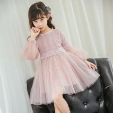 Gaun Terusan Anak Perempuan Sedang Lengan Panjang Renda