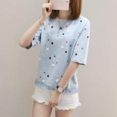 Kaos Wanita Fashion Lengan Pendek Motif Cetak Polkadot Sisi Berumbai Gaya Korea (830 (biru))