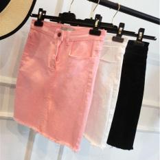Spesifikasi Rumbai Merah Muda Pinggang Tinggi Rok Setengah Rok Jeans Putih Baju Wanita Rok Lengkap
