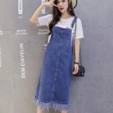 Harga Rumbai Musim Gugur Perempuan Baru Korea Fashion Style Gaun Overall Biru Tua Warna Baju Wanita Dress Wanita Gaun Wanita Oem Terbaik