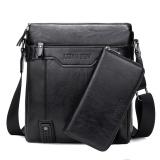 Harga Pria Tote Bags Leinasen Pu Kulit Tahan Air Briefcase Shoulder Bag Dengan Dompet Gratis Hitam Intl Termurah