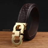 Men S Cow Leather Fashion Style Belt With 33Mm Wide And 120Cm Lengh High Quality Leather Belt Coffee Gold Buckle Intl Dki Jakarta Diskon